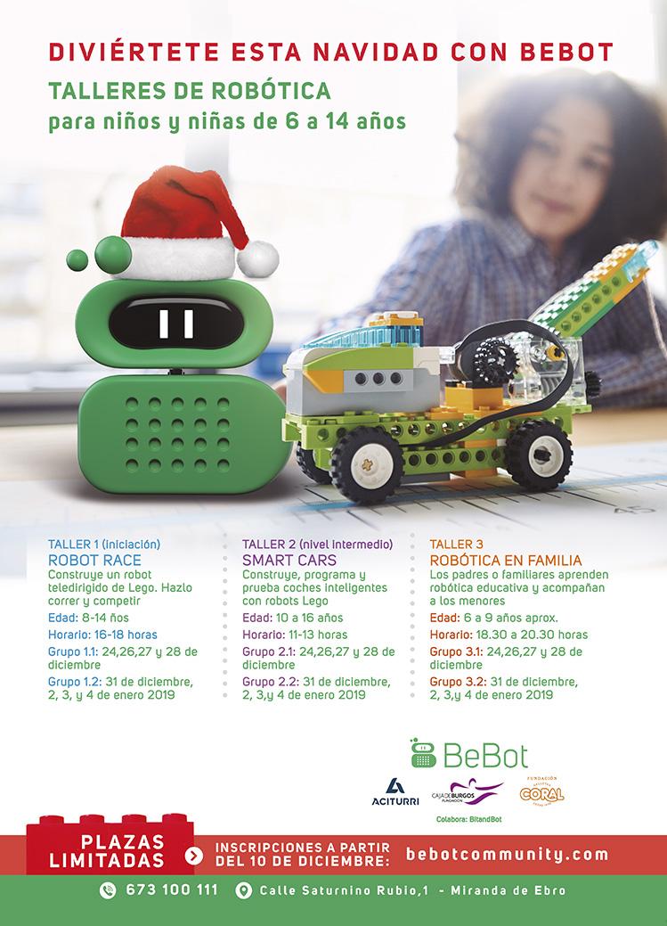 Oferta de talleres de robótica en Navidad de Bebot Miranda