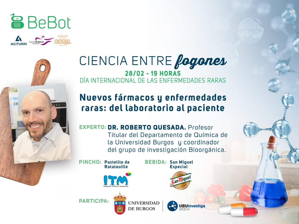 Cartel de la IV edición de Ciencia entre Fogones sobre investigación de  nuevos fármacos